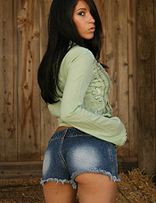 Cute Brunette Babe Cassie Strips Out Of Her Tight Denim Shorts - Picture 3