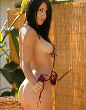 Cassie Takes Off Her Burgundy Bikini In The Hot Summer Time Sun - Picture 14