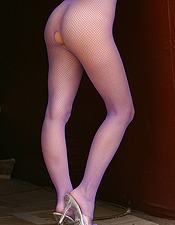 Alex Dane Wearing A Purple Fishnet Body Stocking - Picture 10