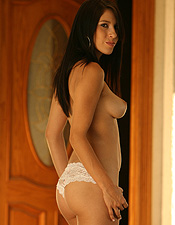Waiting For You At The Front Door Wearing All White Bra And Panties - Picture 11