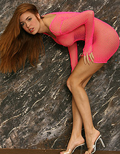 Redhead Babe Jess Robinson In Pink Fishnet Dress - Picture 7