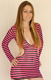 Skyler Steele Cant Wait To Get Out Of Her Cut-out Neon Fishnet Dress - Picture 2
