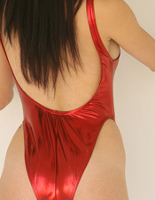 Autumn Autumn Prescott Is Smokin Hot In Her Super Sexy Shiny Red One Piece - Picture 3