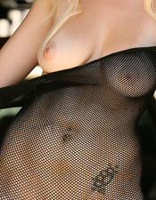 Sara Carlson Shows Off What Her Mama Gave Her In This Black Fishnet One Piece - Picture 12