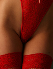 Bree Taylor In Her Red Fishnet Thigh Highs And Red Lace Thong One Piece - Picture 2