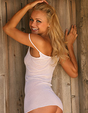 Sexy Blonde Babe Ali Sonoma White Sheer Dress - Picture 15
