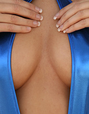 Shellys Taking Off Her Shiny Blue Sling Shot One Piece Bikini - Picture 6