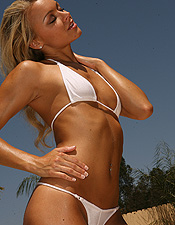 Taned Blonde Ali Wearing A Little White Bikini - Picture 7
